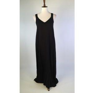 Soma Womens Dress Medium Black V-Neck Maxi B2-13P